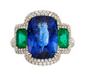Estate Jewelry:Rings, Sapphire, Emerald, Diamond, White Gold Ring. ...