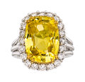 Estate Jewelry:Rings, Ceylon Yellow Sapphire, Diamond, White Gold Ring. ...