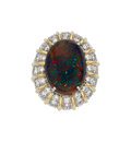 Estate Jewelry:Rings, Black Opal, Diamond, Platinum, Gold Ring. ...