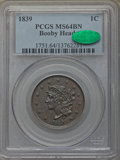 Large Cents, 1839 1C Booby Head, N-13, R.2, MS64 Brown PCGS. CAC....
