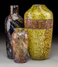 Art Glass:Legras, Three Mottled and Agate Glass Vases. Circa 1930. EngravedLegras; W&C England. Ht. 10-3/8 in. (tallest).... (Total: 3 Items)