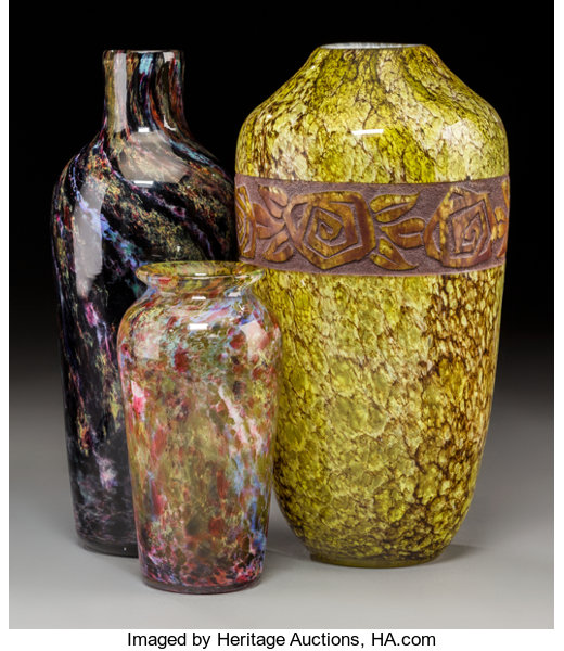 Three Mottled And Agate Glass Vases Circa 1930 Engraved Legras