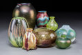 Art Glass:Other , Eight Mark Peiser Iridescent, Millefiori, and Bubbled Glass Vases.Late 20th century. Engraved Peiser. Ht. 8 in. (talles...(Total: 8 Items)