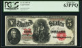 Large Size:Legal Tender Notes, Fr. 91 $5 1907 Legal Tender PCGS Choice New 63PPQ.. ...