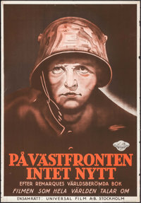"All Quiet on the Western Front (Universal, 1930). Swedish One Sheet (27"" X 39.5""). Academy Award Winners"