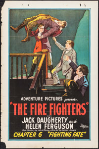 "The Fire Fighters (Universal, 1927). One Sheet (27"" X 41"") Chapter 6 -- ""Fighting Fate."" Serial"