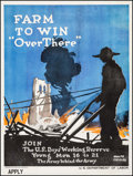"Movie Posters:War, World War I Propaganda (US Department of Labor, 1917). Poster(29.75"" X 39.75""). ""Farm to Win...Over There."" War.. ..."