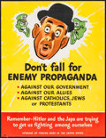"""Movie Posters:War, World War II Propaganda (U.S. Government Printing Office, early1940s). Poster (16.75"""" X 21.75"""") """"Don't Fall for Enemy Propa..."""