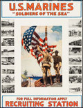 "Movie Posters:War, World War I Propaganda (U.S. Marines, 1917). Trimmed MarinesRecruitment Poster (26"" X 35"") ""Soldiers of the Sea."". ..."