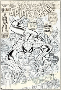 John Romita Sr. and Frank Giacoia Amazing Spider-Man #100 Cover Original Art (Marvel, 1971)