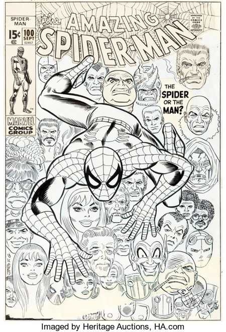 John Romita Sr. and Frank Giacoia Amazing Spider-Man #100 Cover Original Art (Marvel, 1971)....