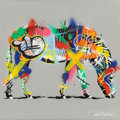 Fine Art - Painting, European:Contemporary   (1950 to present)  , Martin Whatson (Norwegian, b. 1984). Zebra-Mini, 2015. Spraypaint and stencil on canvas. 11-3/4 x 11-3/4 x 1-3/4 inches...