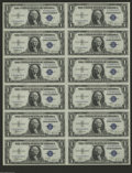 Small Size:Silver Certificates, Fr. 1611 $1 1935B Silver Certificates. Uncut Sheet of 12. Gem Crisp Uncirculated. Another exceptionally attractive uncut sh...