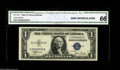 Small Size:Silver Certificates, Fr. 1612 $1 1935C Silver Certificate. CGA Gem Uncirculated 66. Serial number S00000002D, and housed in a CGA Gem Uncirculat...