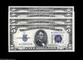 Small Size:Silver Certificates, Fr. 1654* $5 1934D Silver Certificates. Reverse Narrow/Wide I Changeover Pair. Choice Crisp Uncirculated. Fr. 1654* $5 19... (4 notes)