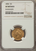 Three Dollar Gold Pieces, 1854 $3 -- Damaged -- NGC Details. XF. NGC Census: (86/3980). PCGSPopulation: (92/3294). XF40. Mintage 138,618....