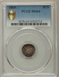 Three Cent Silver: , 1860 3CS MS64 PCGS Secure. PCGS Population: (86/44 and 1/1+). NGCCensus: (68/28 and 0/1+). CDN: $500 Whsle. Bid for proble...