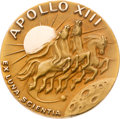 Explorers:Space Exploration, Apollo 13 Flown Gold Robbins Medallion Originally from the PersonalCollection of Mission Command Module Pilot Jack Swigert, w...