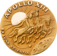 Apollo 13 Flown Gold Robbins Medallion Originally from the Personal Collection of Mission Command Module Pilot Jack Swig...