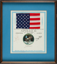 Apollo 11 Flown Large Size American Flag on a Crew-Signed Presentation Certificate, Framed