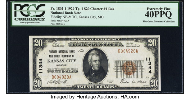 Kansas City, MO - $20 1929 Ty  1 Fidelity NB & TC Ch  # 11344  | Lot