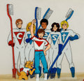 Crest Team Animated TV Commercial Production Cel Setups and Animation Drawings G Comic Art