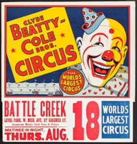 "Circus Poster (Clyde Beatty-Cole Brothers, c.1958). Poster (28"" X 21""). Miscellaneous"