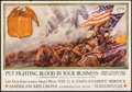 "Movie Posters:War, World War I Propaganda (Department of Labor, 1918). Poster (28"" X19"") ""Put Fighting Blood in Your Business."" War.. ..."