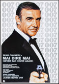 "Movie Posters:James Bond, Never Say Never Again (Warner Brothers, 1983). Rolled, Very Fine-.Italian Foglio (27"" X 39.25"") & Spanish One Sheet ..."
