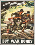 "Movie Posters:War, World War II Propaganda (U.S. Government Printing Office, 1942).War Bond Poster (22"" X 28"") ""Attack Attack Attack Buy War B..."