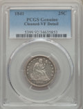 Seated Quarters, 1841 25C -- Cleaning -- PCGS Genuine. VF Details. NGC Census: (3/55). PCGS Population: (3/68). CDN: $200 Whsle. Bid for pro...