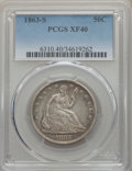 Seated Half Dollars, 1863-S 50C XF40 PCGS. PCGS Population: (43/170). NGC Census: (7/109). CDN: $250 Whsle. Bid for problem-free NGC/PCGS XF40. ...