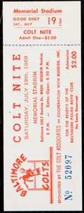 Football Collectibles:Tickets, 1969 Vince Lombardi Redskins Head Coaching Debut Game Full Ticket....