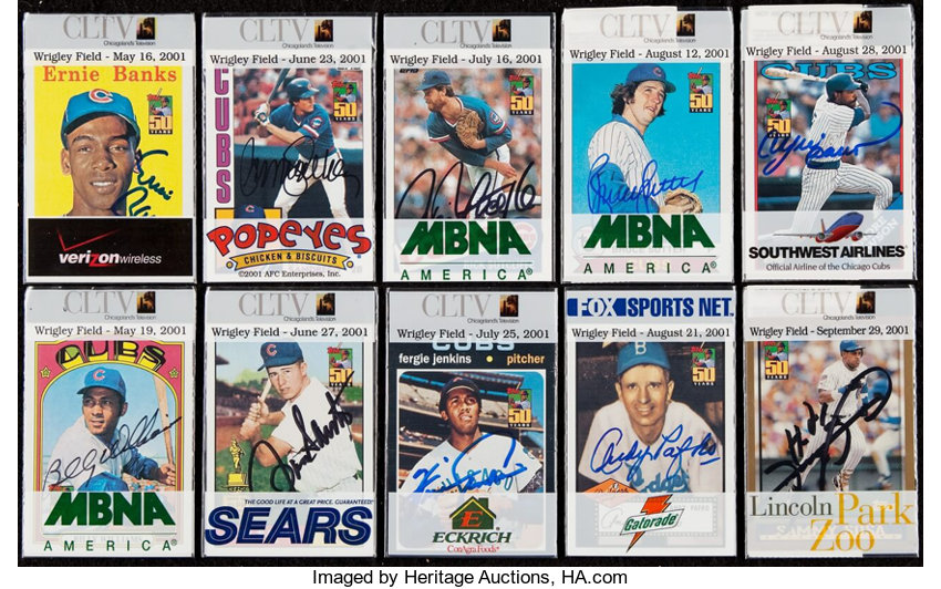 Signed 2001 Toppscltv Chicago Cubs Baseball Card Giveaway Lot