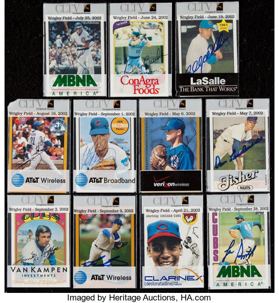 Signed 2002 Toppscltv Chicago Cubs Baseball Card Giveaway Lot