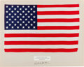 Explorers:Space Exploration, Apollo 12 Lunar Module Flown Largest Size American Flag on a Presentation Mat Signed by Richard Gordon, Directly from the Fami...