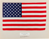 Apollo 12 Lunar Module Flown Largest Size American Flag on a Presentation Mat Signed by Richard Gordon, Directly from th...