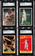 Baseball Cards:Lots, 1957-58 Topps Hank Aaron and Mickey Mantle SGC Graded Quartet (4).....
