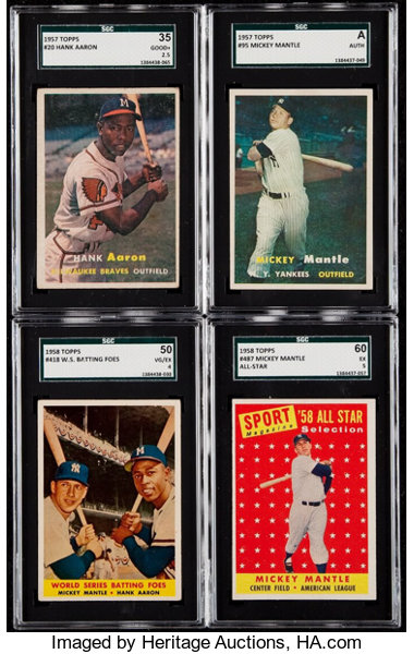 1957 58 Topps Hank Aaron And Mickey Mantle Sgc Graded Quartet 4