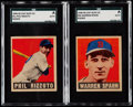 Baseball Cards:Lots, 1948 Leaf Phil Rizzuto and Warren Spahn SGC Authentic Pair (2).....