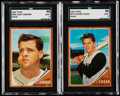 Baseball Cards:Lots, 1962 Topps High Numbers SGC Graded Pair (2) - Johnny Logan andLarry Osborne .. ...