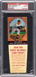 Baseball Cards:Singles (1950-1959), 1958 Hires Root Beer Daryl Spencer #51 PSA Mint 9 - Pop Two, NoneHigher. ...