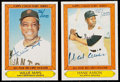 Autographs:Sports Cards, 1985 Topps Collectors' Series Hank Aaron and Willie Mays SignedCard Pair (2).. ...