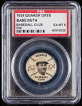 Baseball Cards:Singles (1930-1939), 1938 Quaker Oaks Babe Ruth Baseball Club Pin PSA EX-MT 6. . ...