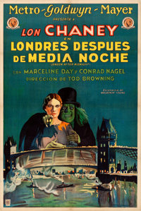 """London After Midnight (MGM, 1927). Argentinean One Sheet (29"""" X 43"""") A. Wagener Artwork"""