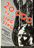 "Movie Posters:Crime, 20,000 Years in Sing Sing (First National, 1933). Full-BleedSwedish One Sheet (27.5"" X 39.5"") Fuchs Artwork.. ..."