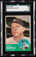 Baseball Cards:Singles (1960-1969), 1963 Topps Mickey Mantle #200 SGC 40 VG 3.. ...