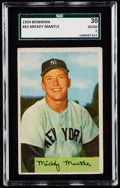 Baseball Cards:Singles (1950-1959), 1954 Bowman Mickey Mantle #65 SGC 30 Good 2.. ...