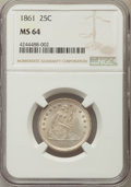 Seated Quarters, 1861 25C MS64 NGC....