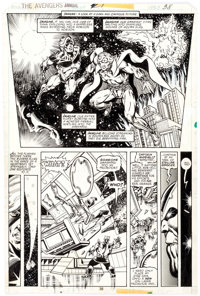 Jim Starlin and Joe Rubinstein Avengers Annual #7 Story Page 28 Thanos, Adam Warlock, and Captain Mar-Vell Origina